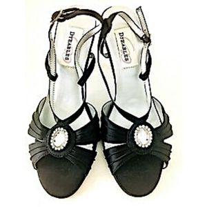 Dyeables Heels Shoes Black Formal Rhinestones 7.5B